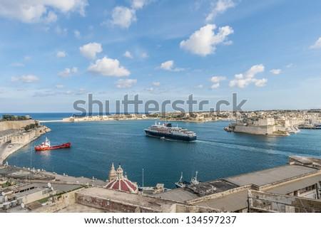 La Valletta Grand Harbour as seen from Upper Baracca Gardens, Malta - stock photo