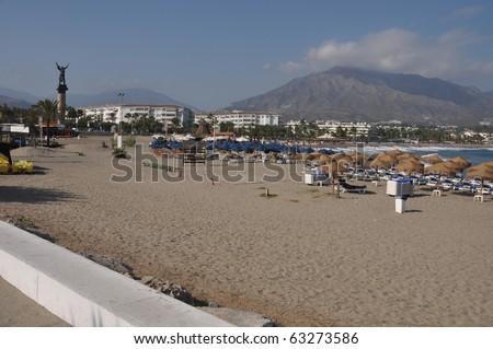 La Victoria statue and beach in Puerto Banus (Marbella), Spain - stock photo