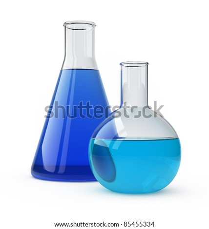 Lab flasks with a blue liquid over white. - stock photo