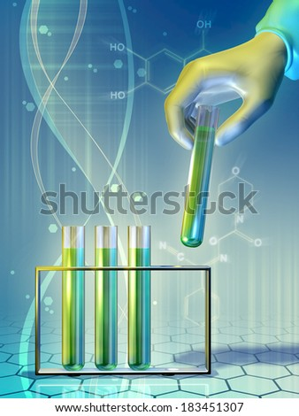 Lab personnel interacting with some chemical flasks. Digital illustration. - stock photo
