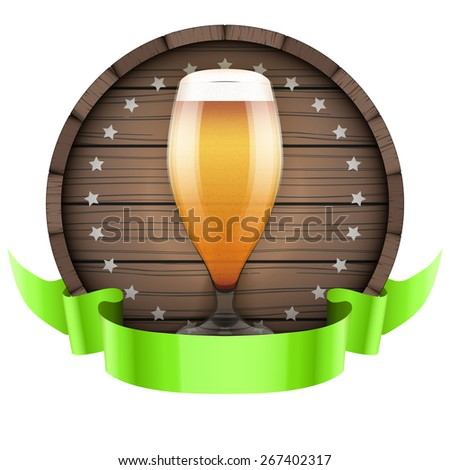 Label Beer barrel keg with beer glass and ribbon. Illustration isolated on white background. - stock photo
