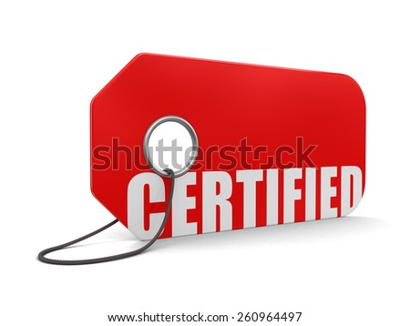 Label Certified (clipping path included) - stock photo