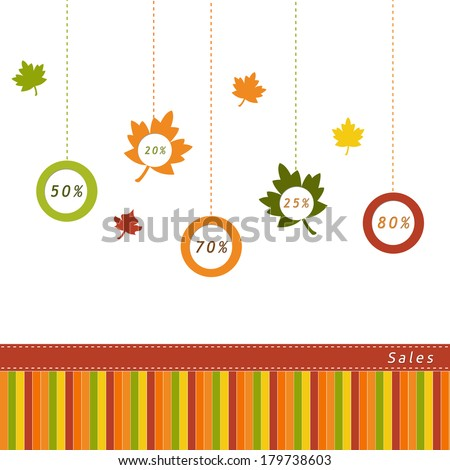 Label for Autumn Sales with leaves - stock photo