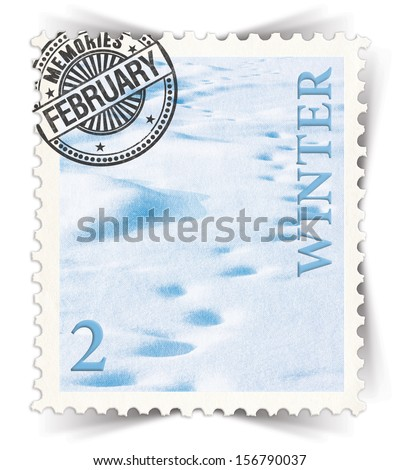 Label for seasonal products ads or calendars stylized as vintage post stamp (February - 2 of 12 set)  - stock photo