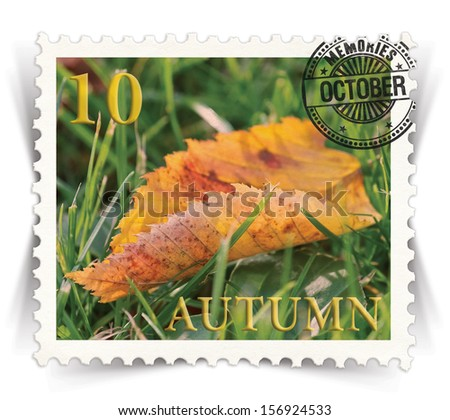 Label for seasonal products ads or calendars stylized as vintage post stamp (October - 10 of 12 set)  - stock photo