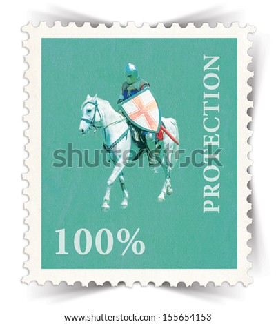 Label for various business advertisements stylized as green vintage post stamp - portrait view  - stock photo