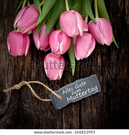 Label with german text: Happy Mother's day - stock photo