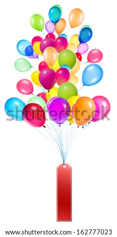 Labels hanging on color balloons rising high - stock photo