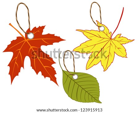 Labels of autumn leaves.  Raster image - stock photo