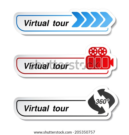 labels - stickers for virtual tour, navigation button - stock photo