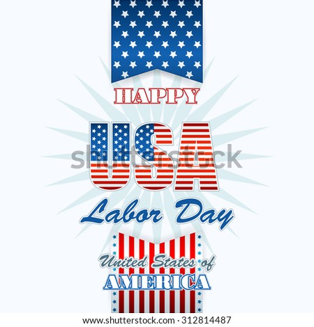 Labor day, abstract computer graphic background with flag and stars; Holidays, layout, template with blue, white and red stars and national flag colors for American Labor Day; Space for text - stock photo