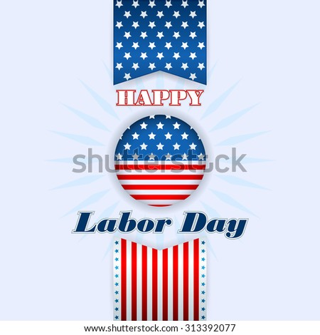 Labor day, abstract computer graphic background with flag and stars; Holidays, layout, template with blue, white and red stars and national flag colors for American Labor Day - stock photo