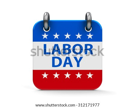 Labor day calendar icon as american flag, three-dimensional rendering - stock photo