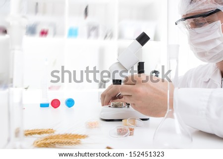 Laboratory assistant in the laboratory of of food quality - stock photo