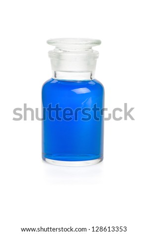 Laboratory bottle filled with blue liquid - stock photo