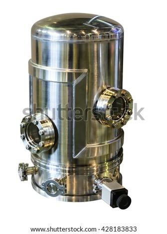 Laboratory equipment. Study the high vacuum chamber. Isolated on white background. - stock photo