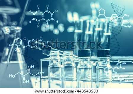 Laboratory glassware containing chemical liquid, science research,science background - stock photo