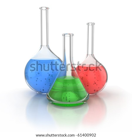 Laboratory glassware filed with green liquid over the white background 3d illustration - stock photo