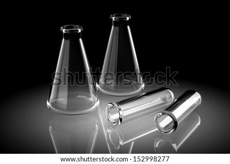 Laboratory glassware for liquids (high resolution 3D image) - stock photo