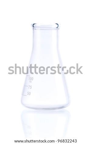 Laboratory glassware for liquids on white background - stock photo