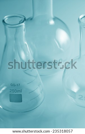 Laboratory Glassware Green Tint - stock photo