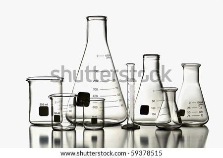 Laboratory Glassware isolated on a white background - stock photo