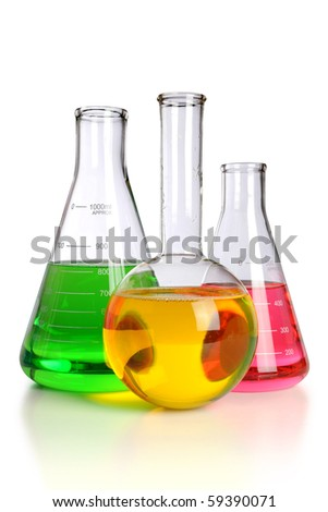 Laboratory glassware over white background - With clipping path - stock photo
