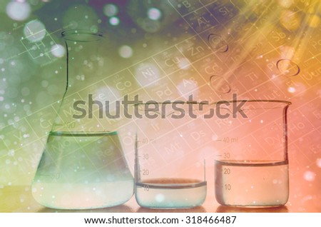 Laboratory glassware with Abstract bokeh background - stock photo