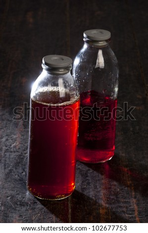 Laboratory glassware with red fluid - stock photo