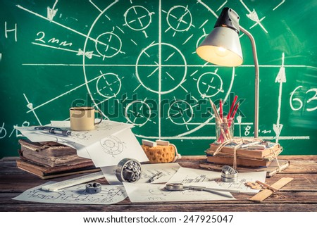 Laboratory technical drawing at school - stock photo