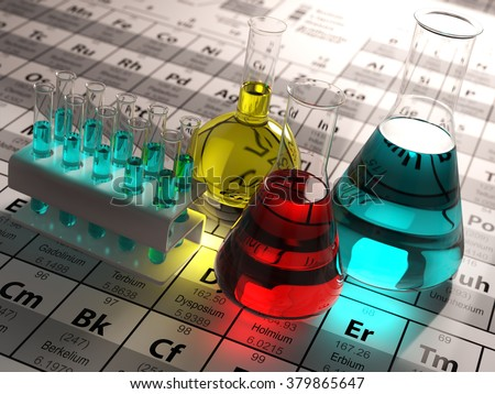 Laboratory test tubes and flasks with colored liquids on the periodic table of elements. Science chemistry concept.  3d - stock photo