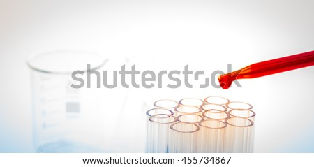laboratory test tubes,medical glassware ( Filtered image processed colorful effect. ) - stock photo