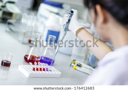 Laboratory workplace for DNA analyze - stock photo