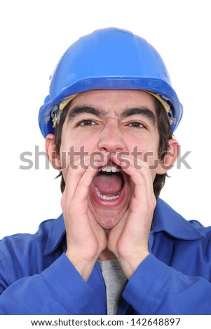 Laborer screaming - stock photo