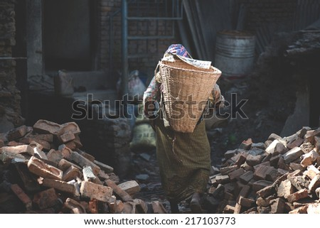 laborious work in the developing country - stock photo