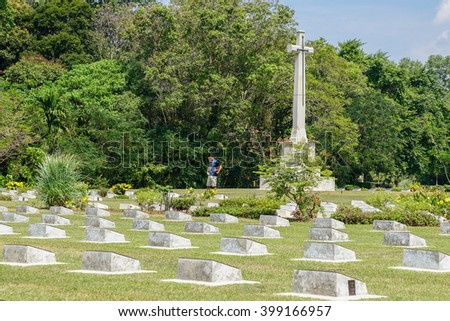 Labuan Malaysia - Apr 1, 2016 : Veteran Memorial Park in Labuan,Malaysia. Labuan once known as The Pearl of The Orient is one of the World War II allied stronghold.   - stock photo