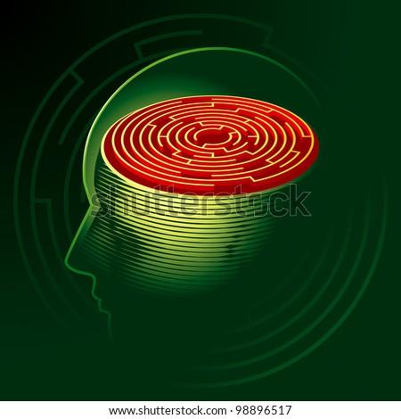 Labyrinth Mind. Human Head Psychology Symbol. Rasterized Version - stock photo