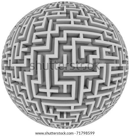 labyrinth planet - endless maze with spherical shape 3d illustration - stock photo