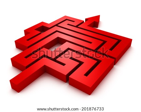 labyrinth red arrow on white background. 3d render illustration - stock photo