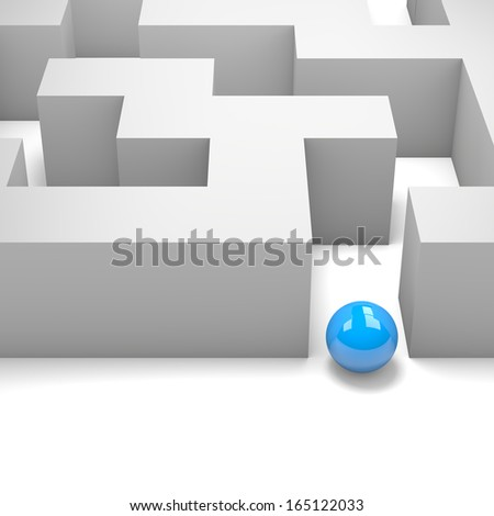 Labyrinth with a Blue Ball 3D Illustration - stock photo