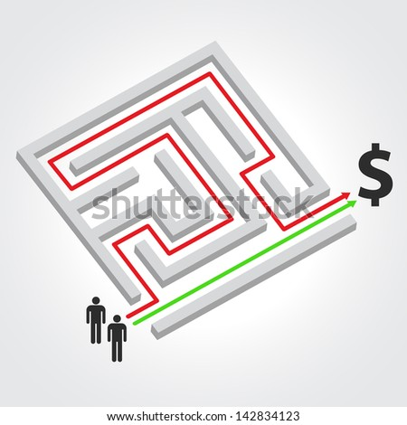 Labyrinth with arrow, people and dollar symbol. Raster version. Vector version available in my portfolio - stock photo