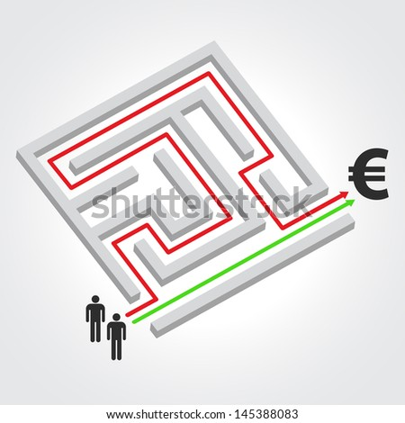 Labyrinth with arrow, people and euro symbol. Raster version. Vector version available in my portfolio - stock photo