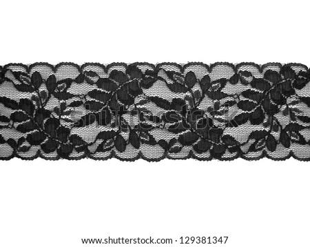lace background black on white - stock photo