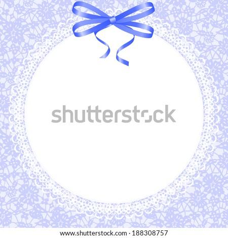 Lace beautiful white frame on blue background - stock photo