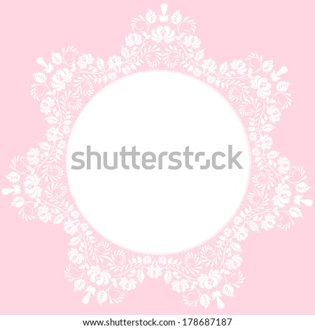 Lace beautiful white frame on pink background - stock photo