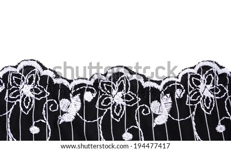 Lace closeup isolated on white. - stock photo