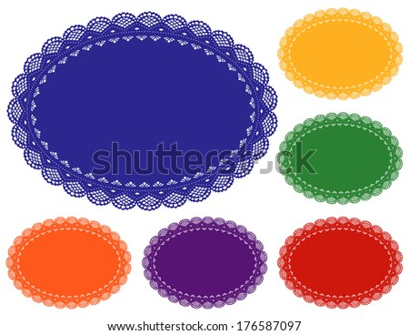 Lace Doily Place Mats. Antique vintage design pattern in 6 bright jewel colors with oval copy space. For setting table, cake decorating, holidays, crafts, scrapbooks, albums.   - stock photo