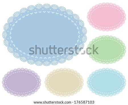 Lace Doily Place Mats. Antique vintage design pattern in 6 pastel colors including baby pink, baby blue, oval copy space.  For setting table, cake decorating, holidays, crafts, scrapbooks, albums.   - stock photo
