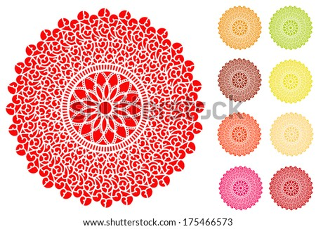 Lace Doily Place Mats, antique vintage filigree design pattern in 9 bright colors, for setting table, cake decorating, holidays, crafts, scrapbooks, albums.  - stock photo