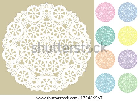 Lace Doily Place Mats, antique vintage snowflake design pattern in 8 pastel colors and white, for setting table, cake decorating, holidays, crafts, scrapbooks, albums.  - stock photo